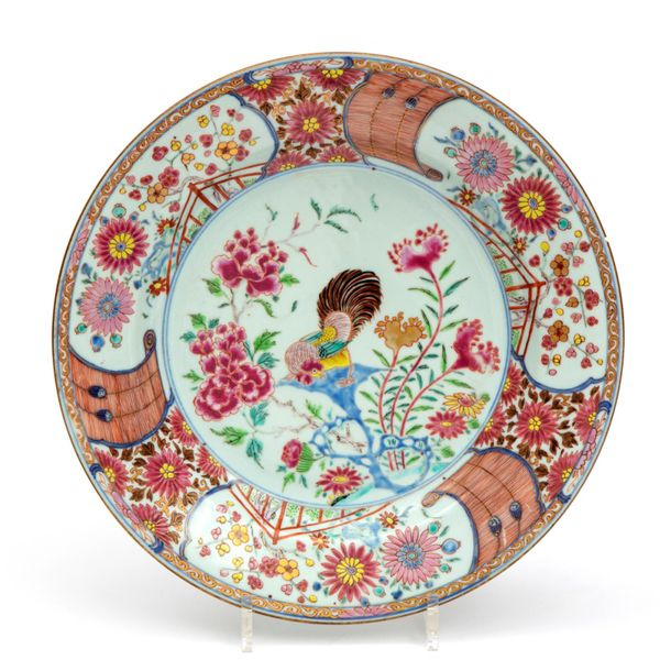 A large famille rose cockerel plate A large famille rose cockerel plate, Yongzhe…