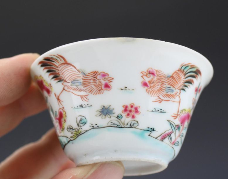 Five famille rose cockerel cups and saucers Five famille rose cockerel cups and …