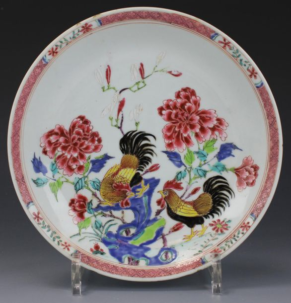 A famille rose cockerel plate A famille rose cockerel plate, Yongzheng period, 1…