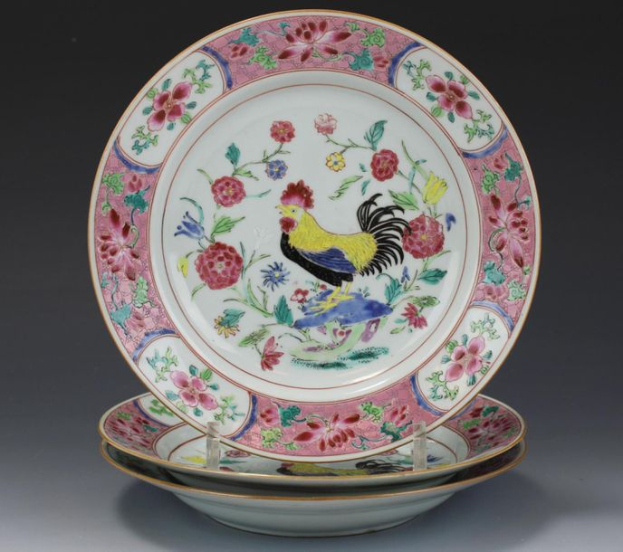 Three famille rose cockerel plates Three famille rose cockerel plates, Yongzheng…