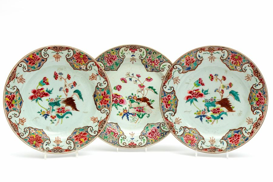 Three famille rose floral chargers Three famille rose floral chargers, Yongzheng…