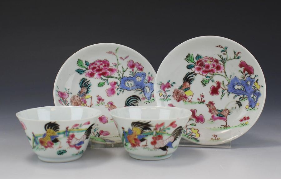Two famille rose cockerel cups and saucers Two famille rose cockerel cups and sa…