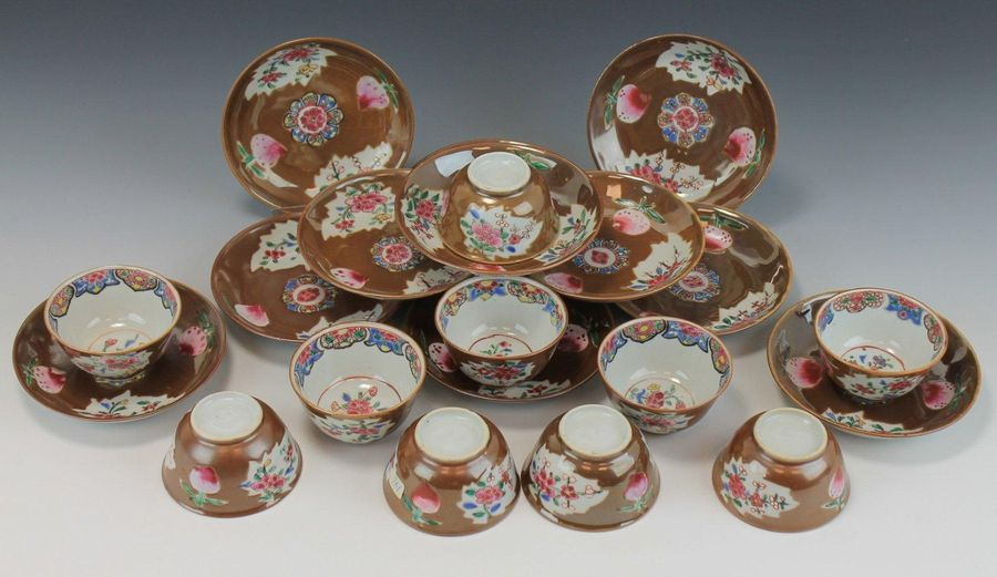 A Batavia glaze famille rose set of cups and saucers A Batavia glaze famille ros…