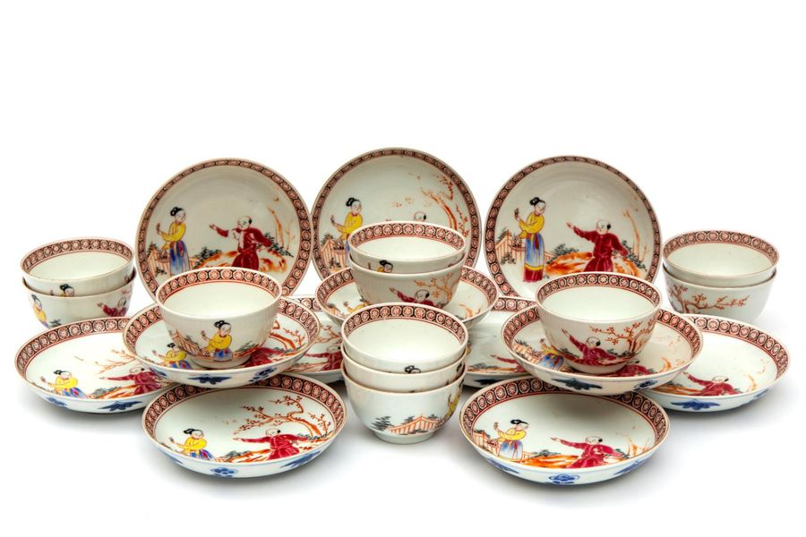 Eleven famille rose mandarin cups and saucers Eleven famille rose mandarin cups …