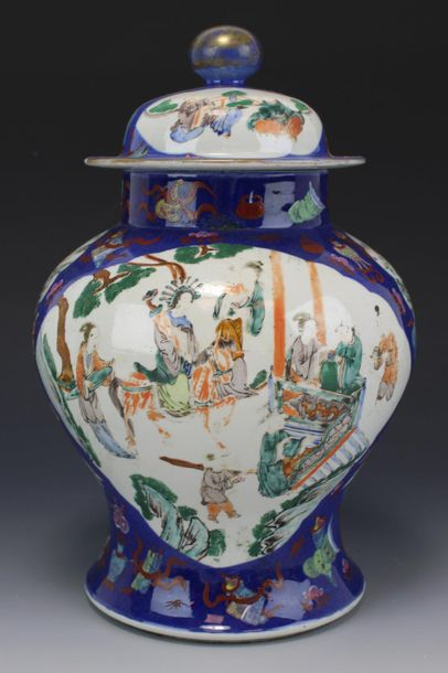 A famille verte covered vase on a blue ground A famille verte covered vase on a …