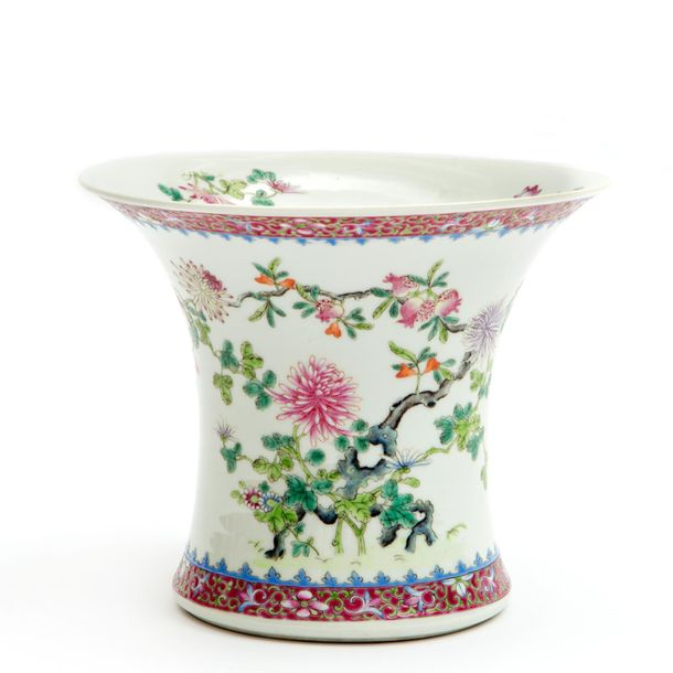 A Chinese floral famille rose vase A Chinese floral famille rose vase, Hongxian/…