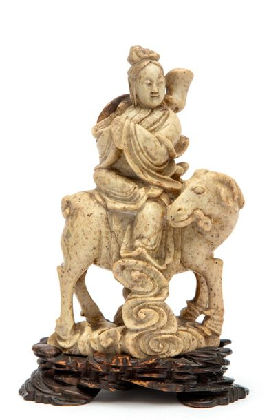 A carved soap stone figure A carved soap stone figure, Ca. Late 19th century, Ch…