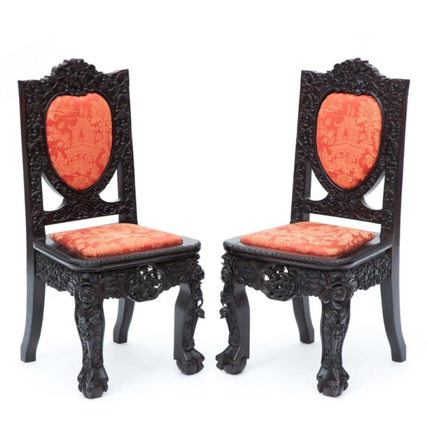 A pair of Chinese hardwood side chairs A pair of Chinese hardwood side chairs, L…