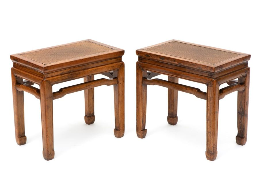 A pair of Chinese elm stools A pair of Chinese elm stools, Late 19th century, Ea…