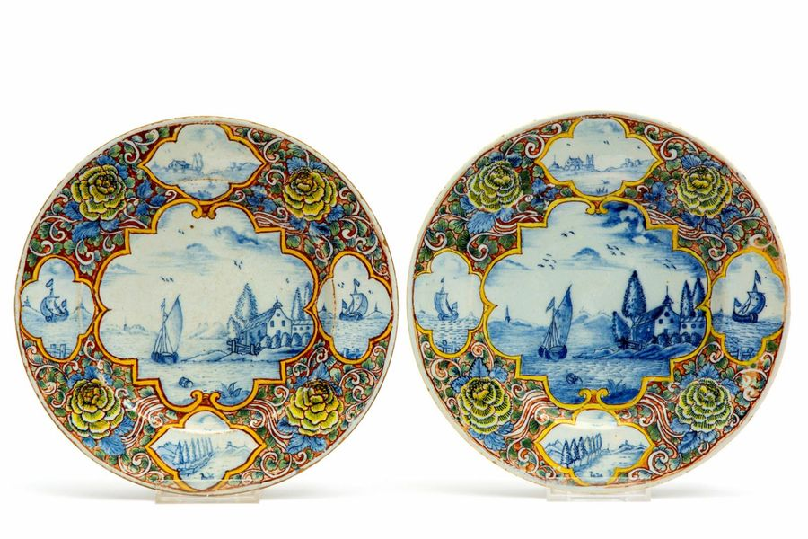 Two Delft polychrome pottery plates Two Delft polychrome pottery plates, 18th ce…