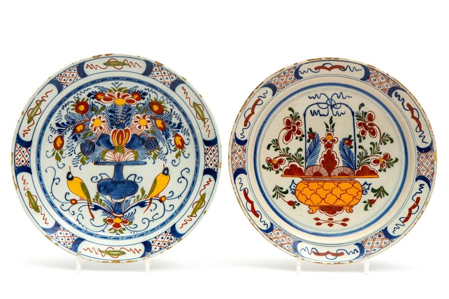 Two larger Delft pottery polychrome wall plates Two larger Delft pottery polychr…