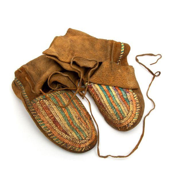 A pair of Native American moccasins A pair of Native American moccasins, Ca. 192…