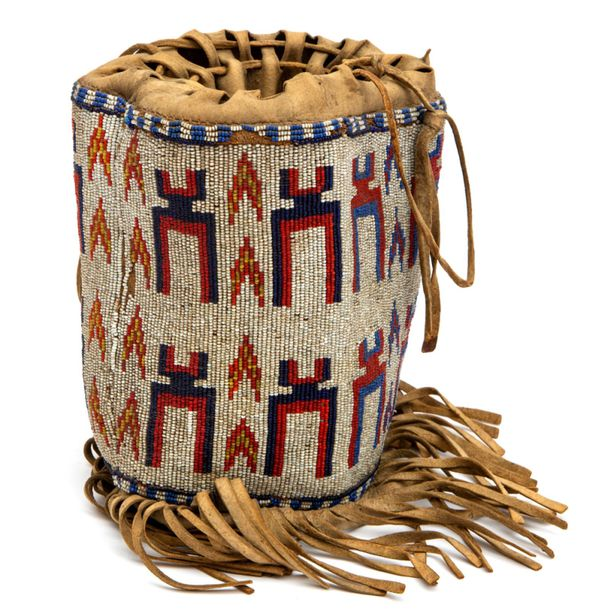 A Native American beaded pipe bag A Native American beaded pipe bag, Ca. 1920, N…