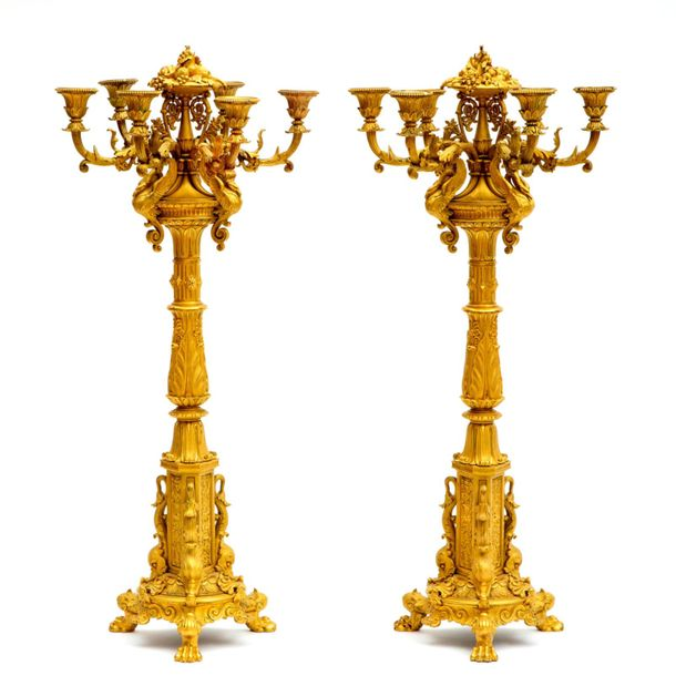 An important pair of Louis Philippe ormolu six light candelabra An important pai…