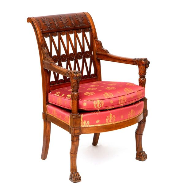 A French mahogany armchair, in the style of Jacob Frères A French mahogany armch…