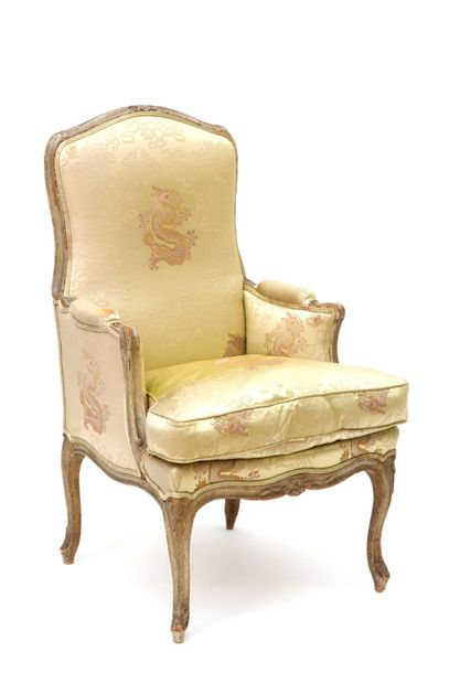 A Louis XV gray painted beechwood bergère A Louis XV gray painted beechwood berg…