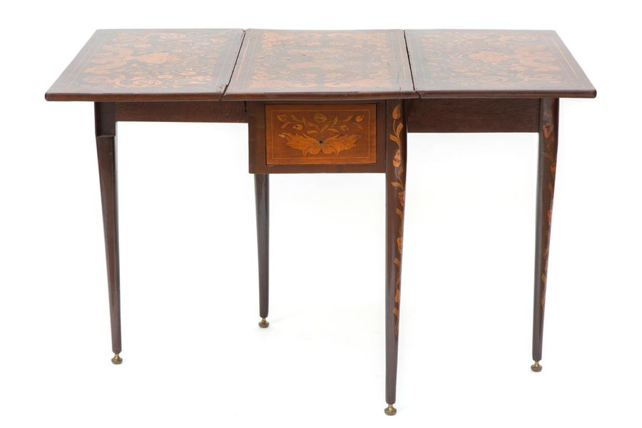 A Dutch mahogany and fruitwood marquetry drop leaf table A Dutch mahogany and fr…