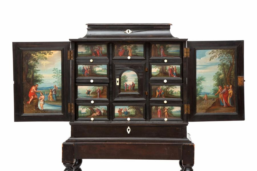 A Flemish ebony cabinet, inset with painted panels A Flemish ebony cabinet, inse…