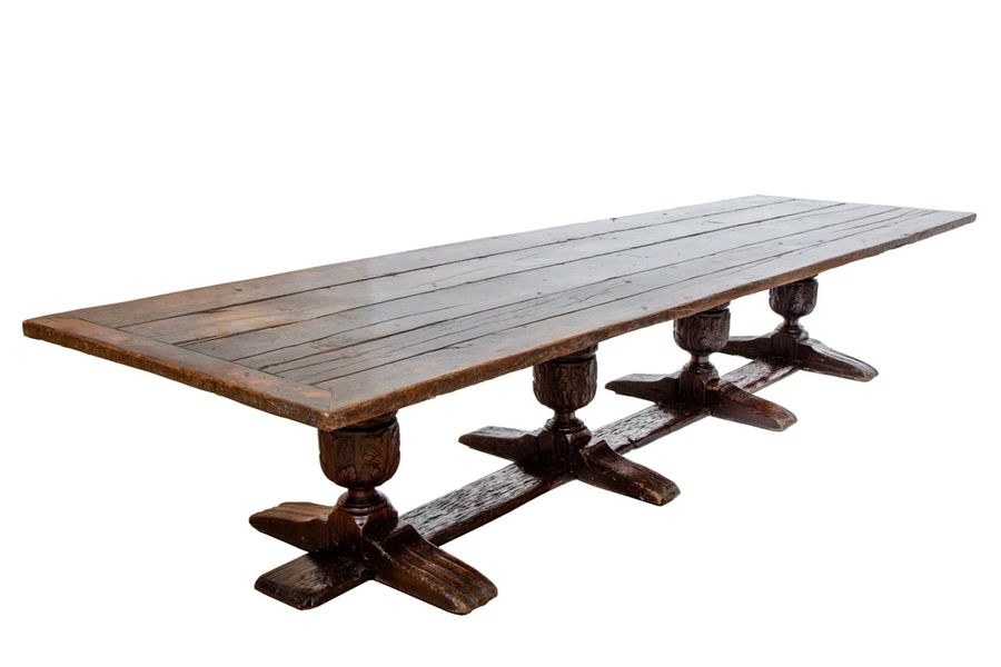 An English stained oak refectory table An English stained oak refectory table, 1…