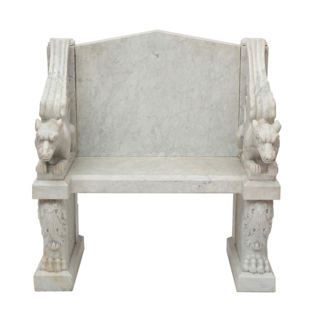 A carved white marble throne chair, of classical style A carved white marble thr…