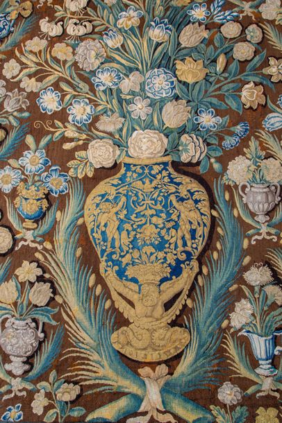 A Dutch floral tapestry or table carpet A Dutch floral tapestry or table carpet,…