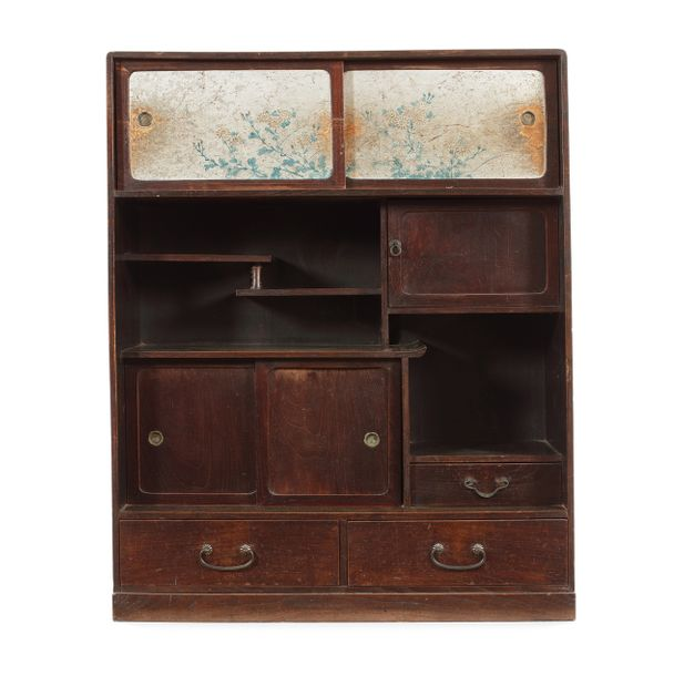 A stained kiriwood Cha Dansu/cabinet, probably Meiji period A stained kiri wood …