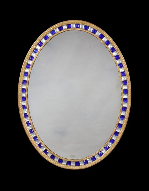 A large 18th century style Irish carved giltwood and cut glass beaded oval mirro…