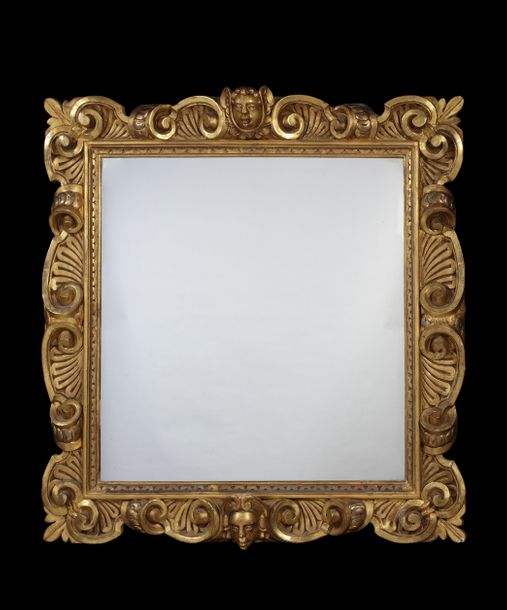 A 17th century Italian carved giltwood frame with later mirror plate A 17th cent…