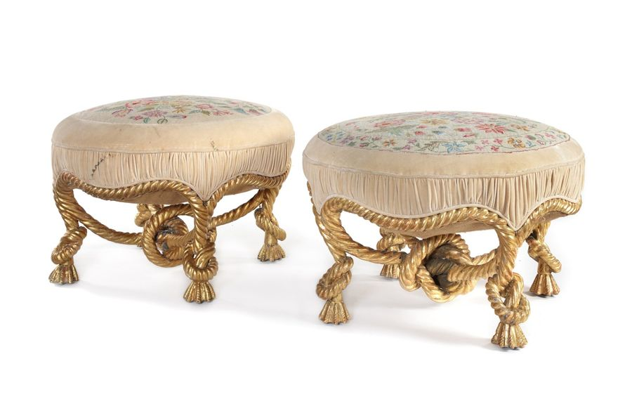 A pair of late 19th century French Louis XVI style carved giltwood rope twist st…