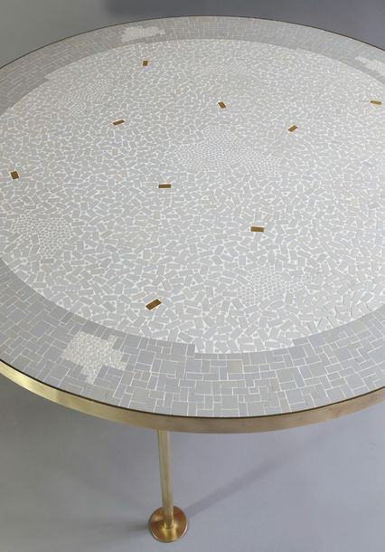Berthold Müller Oerlinghausen, Tripod Mosaic Coffee Table Three legged mosaic ta…