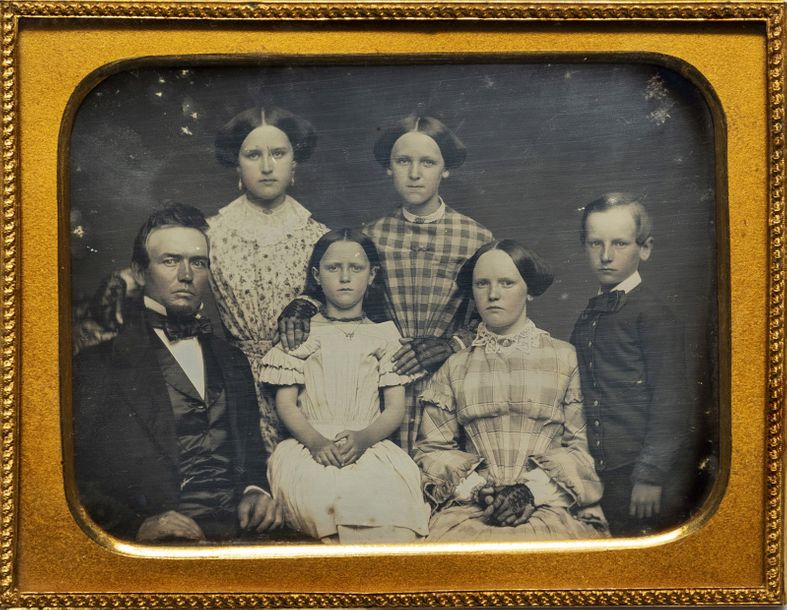 American daguerreotypist Isaac J. Warner, four daughters and a son Isaac Warner …