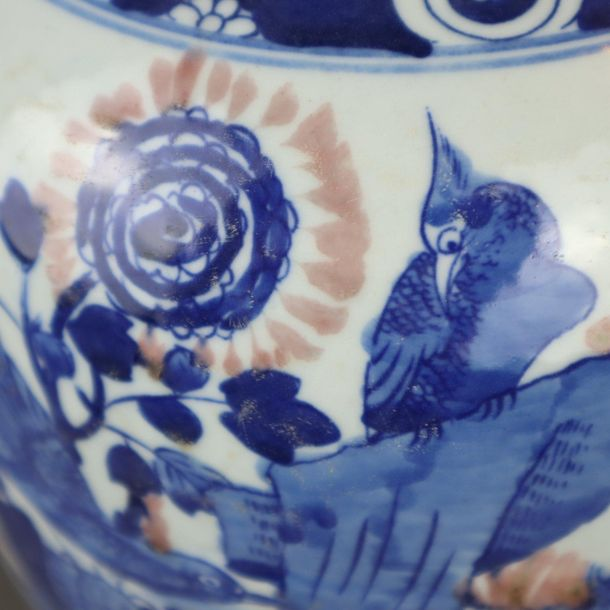 Baluster vase China, painted in underglaze and onglaze colors with bird on flowe…