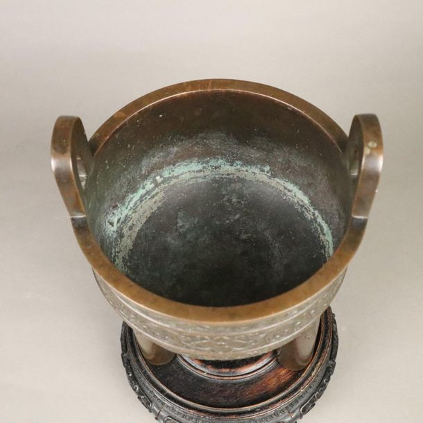 A bronze ritual ding type food vessel China, Qing Dynasty, the deep U shaped bod…