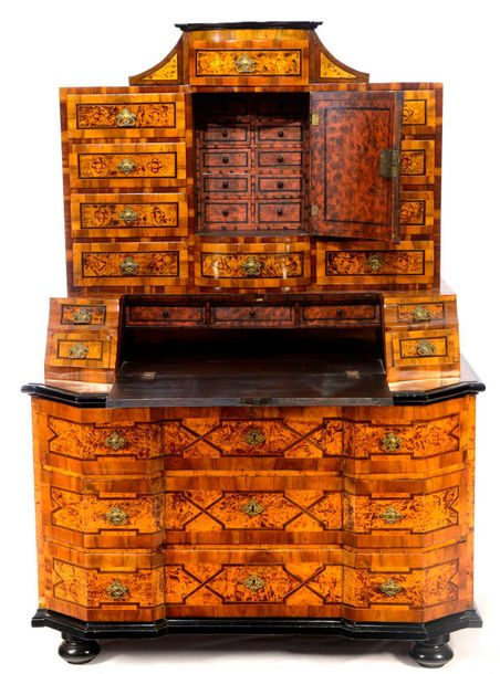 THREE PART CABINET Austria  c. 1770 1780  Inlaid cabinet of soft wood with curve…