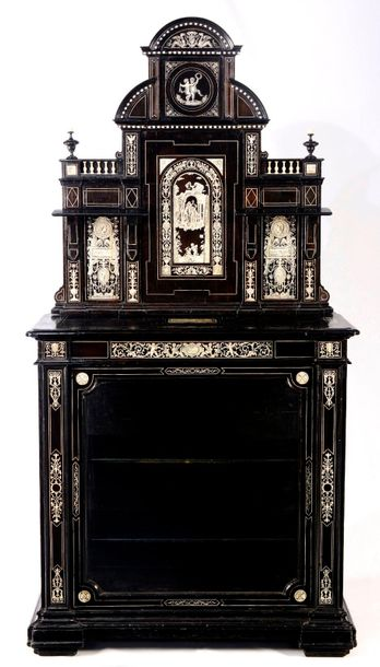 GLASS CABINET WITH A SUPERSTRUCTURE, GIOVANNI BATTISTA GATTI FOLLOWER Italy, Tus…