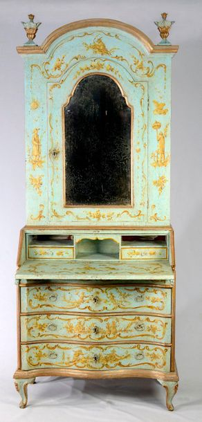 TWO PART CABINET WITH A MIRROR Italy, Venice  19th century  Commode with three d…
