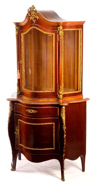 GLASS CABINET France  2nd half of the 19th century  Cabinet of soft wood with wa…