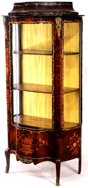 GLASS CABINET France  end of the 19th century  Single door cabinet of soft wood …