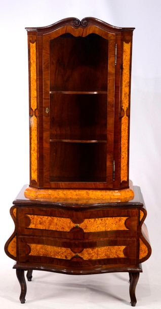 CABINET Bohemia  19th / 20th century  Single door glass cabinet with two shelves…