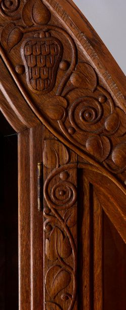 GLASS CABINET Austria, Vienna  around 1914  Cabinet of oak wood decorated with c…