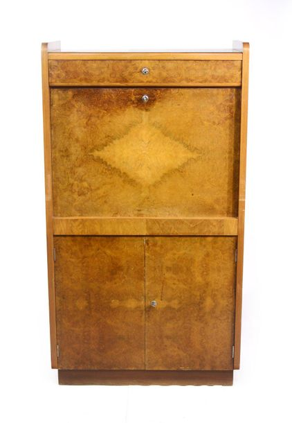 TWO CABINETS Moravia, Rousínov,  1950`s  Two door cabinet with a drawer and a bi…