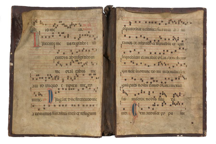 Large, stuccoed, gilded, painted and sgraffiti wooden covers of an Antiphonary. …