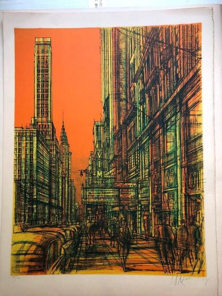 "Jean CARZOU (1907-2000)  ""New York, fond orange""  Lithographie, signée et datée…"