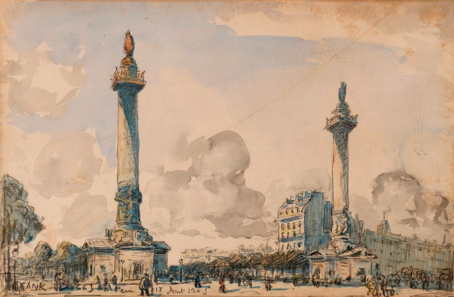 "FRANK BOGGS (1855-1926)  ""Paris - place de la Nation""  Aquarelle, signée, située…"