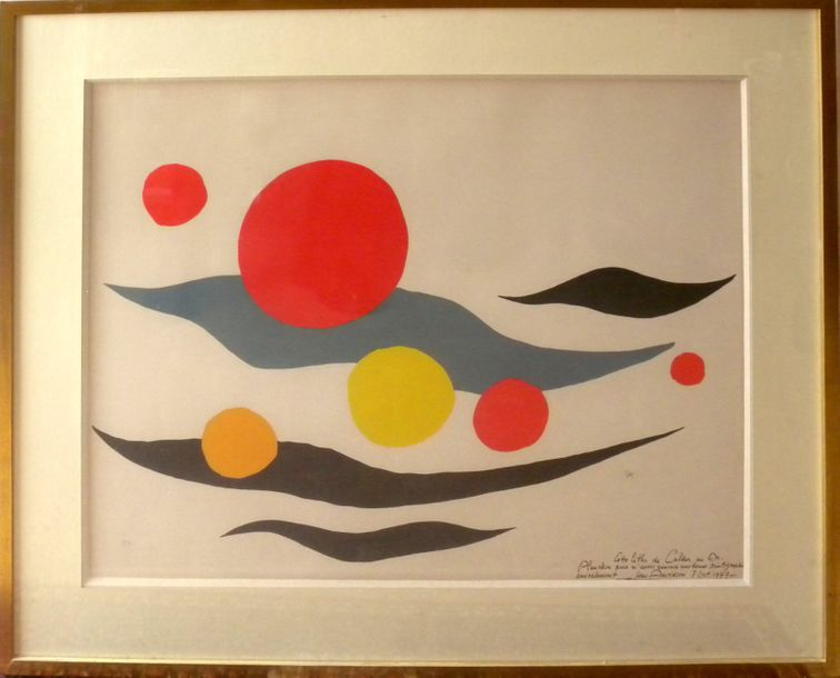 "D'après Alexandre CALDER (1898 1976)  ""Composition with Clouds and Spheres""  Lit…"