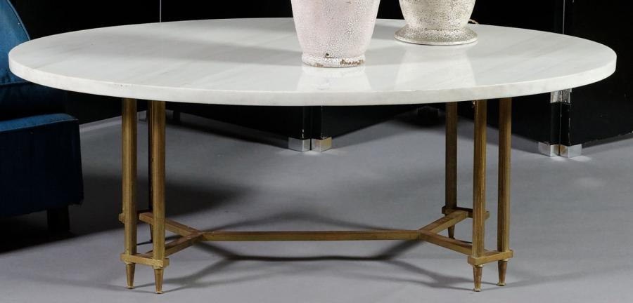 Grande table basse ovale dessus de marbre blanc - Grande table basse ...
