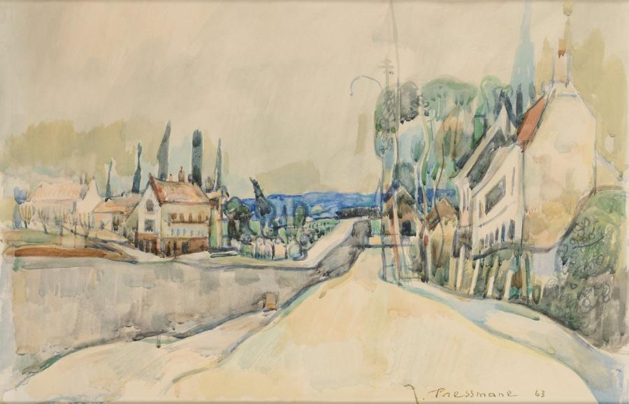 Joseph PRESSMANE (Berestetchko, Ukraine, 1904-Paris, 1967) Les bords d'un canal Aquarelle,…