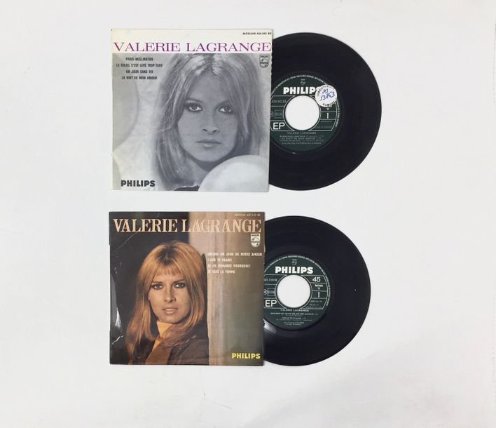 CHANSON FRANCAISE Lot de 2 Eps de Valerie Lagrange. Set of 2 Eps of Valerie Lagr…
