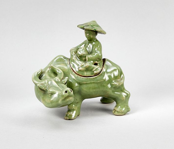 Ceramic sculpture / lidded box, China, probably 19th century, man / boy riding o…