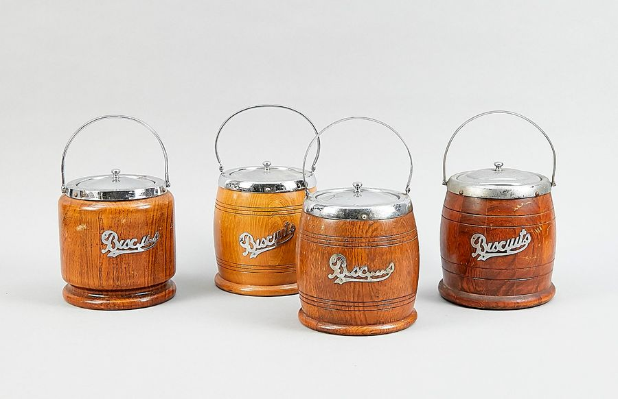 Four biscuit tins, England, 20th century, barrel shape, wooden body, with cerami…